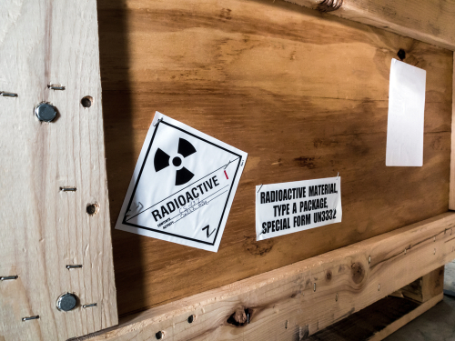 A radioactive sign on a crate