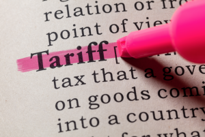 the word tariff highlighted in a dictionary