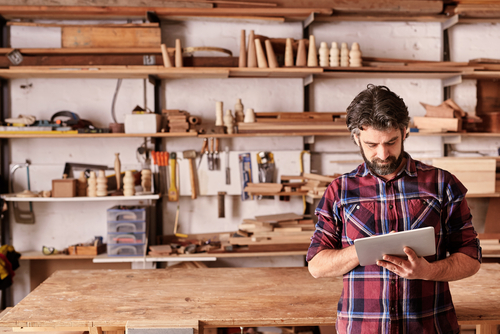 an image of a small business owner working