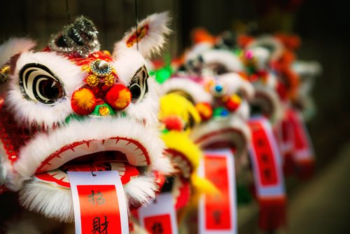 image of Chinese dragon puppets from New Year's celebration